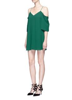 alice + olivia'Carli' cold shoulder crepe dress