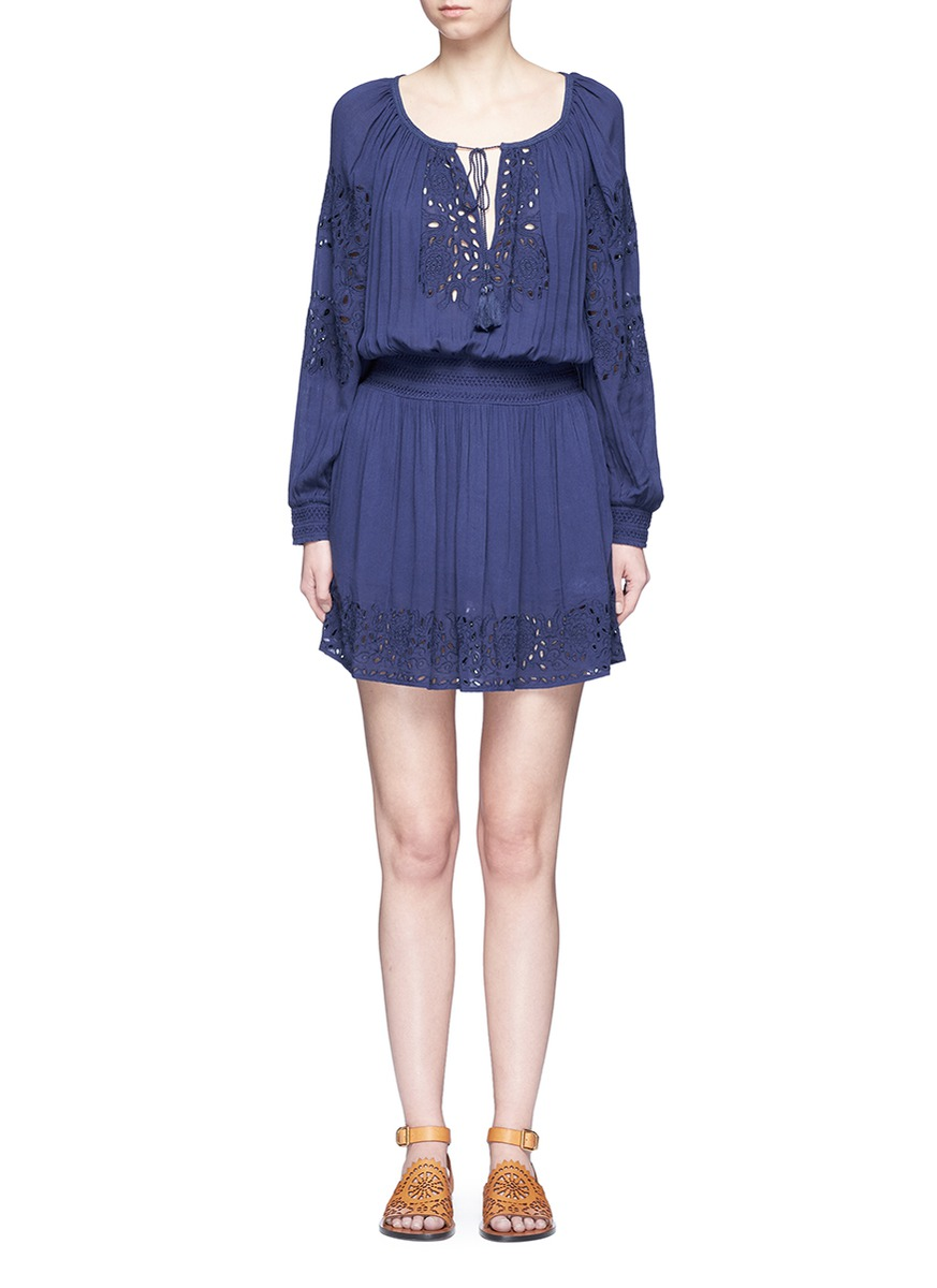 Brenda broderie anglaise smocked dress by alice + olivia