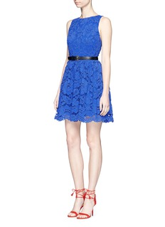alice + olivia 'Ginger' textured floral guipure lace dress