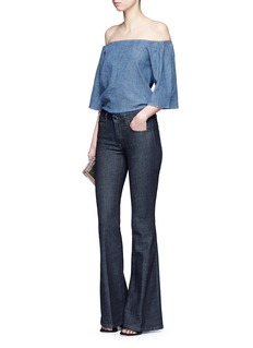 alice + olivia 'Christy' off-shoulder chambray top