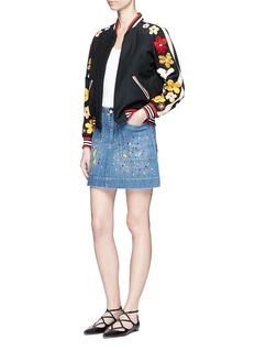 alice + olivia'Coletta' paint splatter denim mini skirt