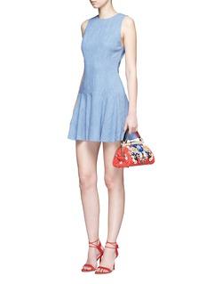 alice + olivia'Elida' dropped waist chambray sleeveless dress