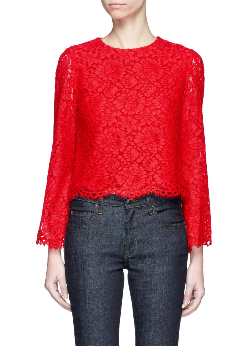 Pasha textured floral guipure lace top by alice + olivia