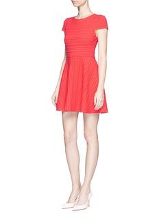 alice + olivia'Shane' textured geometric stripe A-line dress