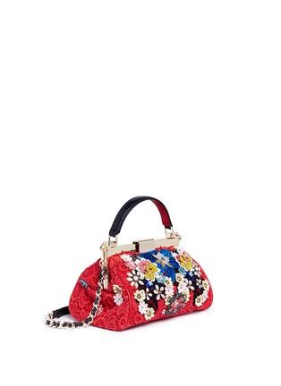Detail View - Click To Enlarge - alice + olivia - 'Scarlet' embellished floral crochet shoulder bag