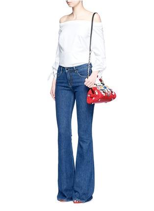 Front View - Click To Enlarge - alice + olivia - 'Scarlet' embellished floral crochet shoulder bag