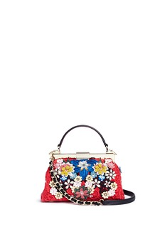 alice + olivia 'Scarlet' embellished floral crochet shoulder bag