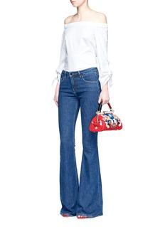 alice + olivia'Scarlet' embellished floral crochet shoulder bag