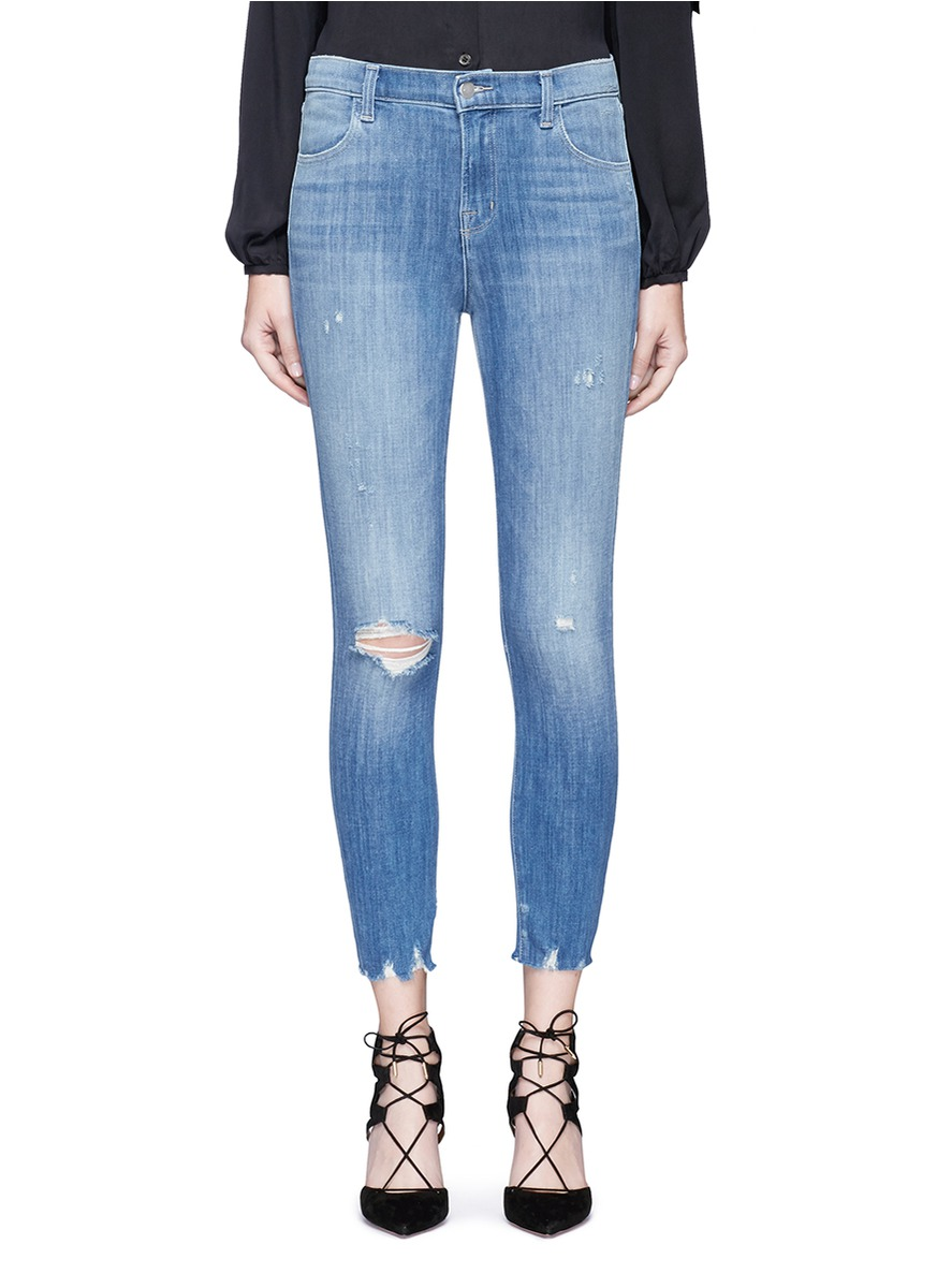 Alana skinny fit distressed cropped denim pants by J Brand