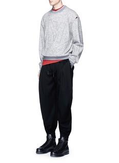 Feng Chen WangLetter patch long sleeve wool T-shirt