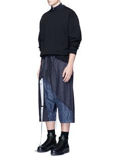 Feng Chen WangWaist strap drop crotch denim shorts