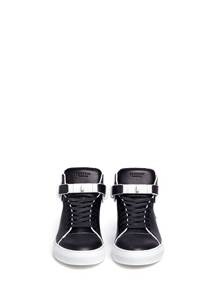 Front View - Click To Enlarge - Buscemi - '100MM Edge' high top leather sneakers