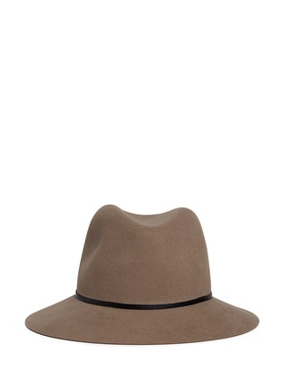 Main View - Click To Enlarge - Janessa Leone - 'Lola' leather band wool felt fedora hat
