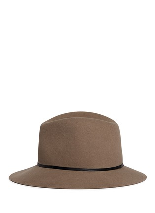 Figure View - Click To Enlarge - Janessa Leone - 'Lola' leather band wool felt fedora hat