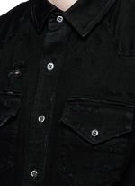 Distress denim shirt