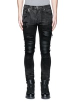 Shimmer finish slim fit biker jeans