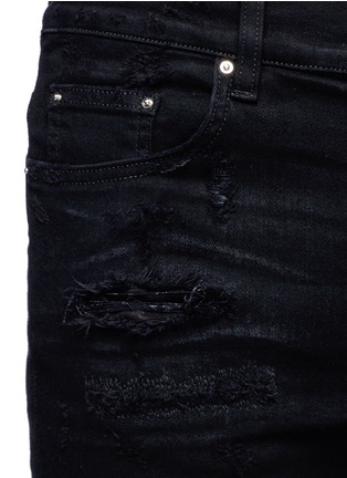 Detail View - Click To Enlarge - Amiri - 'PPX1' slim fit plaid patch distressed jeans