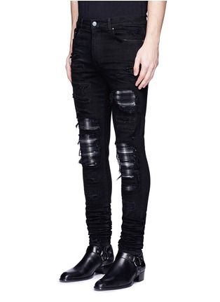 Front View - Click To Enlarge - Amiri - 'PPX1' slim fit plaid patch distressed jeans