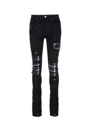 Main View - Click To Enlarge - Amiri - 'PPX1' slim fit plaid patch distressed jeans