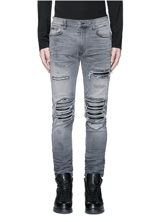Detail View - Click To Enlarge - Amiri - Pleat leather repair slim fit jeans