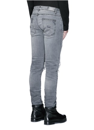 Back View - Click To Enlarge - Amiri - Pleat leather repair slim fit jeans