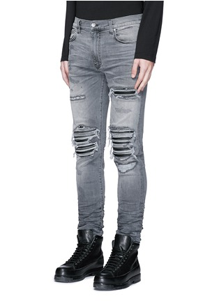 Front View - Click To Enlarge - Amiri - Pleat leather repair slim fit jeans