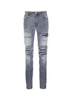 AmiriPleat leather repair slim fit jeans