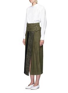 MameRibbon woven panel midi wrap skirt