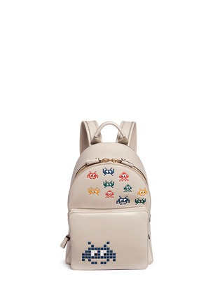 Main View - Click To Enlarge - Anya Hindmarch - 'Space Invaders Mini' embossed leather backpack