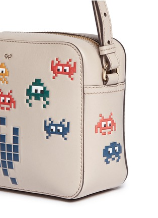 Detail View - Click To Enlarge - Anya Hindmarch - 'Space Invaders' embossed leather crossbody bag