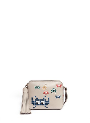 Main View - Click To Enlarge - Anya Hindmarch - 'Space Invaders' embossed leather crossbody bag