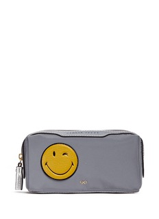 Anya Hindmarch 'Wink Girlie Stuff' leather smiley reflective nylon pouch