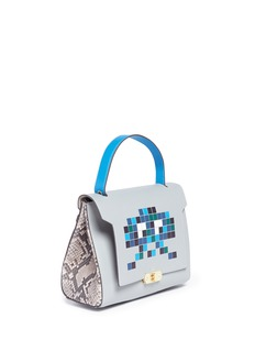 Anya Hindmarch 'Space Invaders Bathurst' small python trim leather satchel