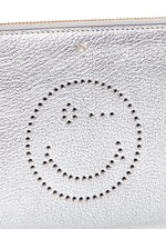 'Wink' smiley perforated metallic leather zip pouch