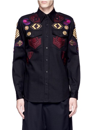 Main View - Click To Enlarge - Dries Van Noten - 'Chale' military badge shirt