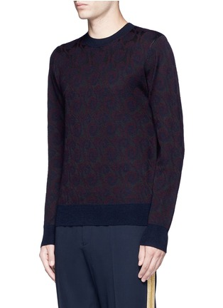 Front View - Click To Enlarge - Dries Van Noten - 'Mika' peacock jacquard sweater