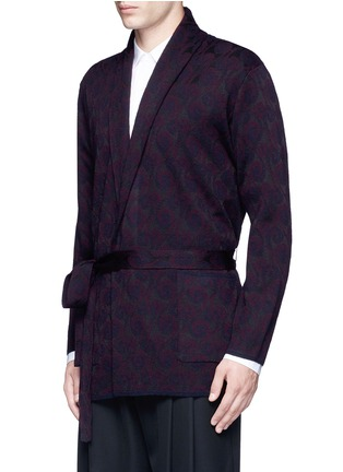Front View - Click To Enlarge - Dries Van Noten - 'Milton' peacock jacquard robe cardigan
