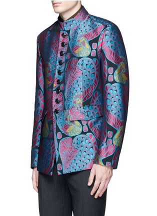 Detail View - Click To Enlarge - Dries Van Noten - Reversibile peacock jacquard embroidered badge jacket