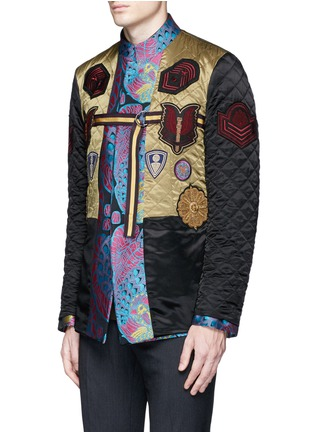 Front View - Click To Enlarge - Dries Van Noten - Reversibile peacock jacquard embroidered badge jacket