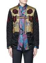 Reversibile peacock jacquard embroidered badge jacket