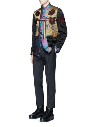 Figure View - Click To Enlarge - Dries Van Noten - Reversibile peacock jacquard embroidered badge jacket