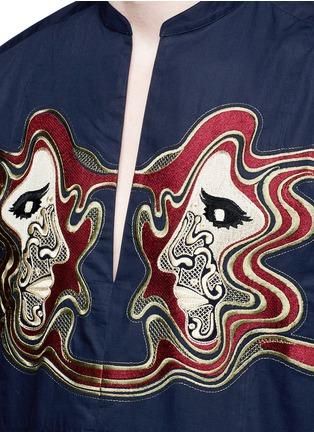 Dries Van Noten-Face embroidery cotton poplin shirt