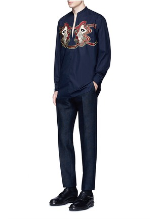 Figure View - Click To Enlarge - Dries Van Noten - Face embroidery cotton poplin shirt