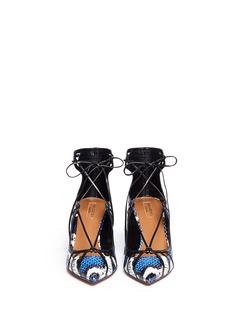 AQUAZZURA'Seduce Me' snakeskin lace-up pumps