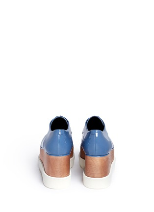 Back View - Click To Enlarge - Stella McCartney - 'Elyse' eco patent leather wood platform derbies
