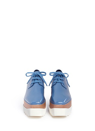 Front View - Click To Enlarge - Stella McCartney - 'Elyse' eco patent leather wood platform derbies