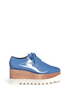 Stella McCartney 'Elyse' eco patent leather wood platform derbies