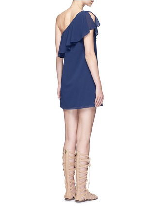 Back View - Click To Enlarge - alice + olivia - 'Francie' one-shoulder ruffle silk dress