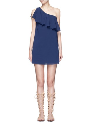 Main View - Click To Enlarge - alice + olivia - 'Francie' one-shoulder ruffle silk dress