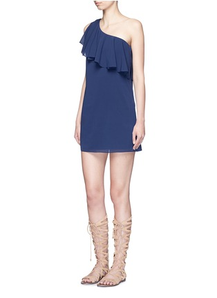 Figure View - Click To Enlarge - alice + olivia - 'Francie' one-shoulder ruffle silk dress